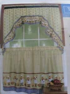 Fat Chef Bistro Tiers & Swag Valance Kitchen Curtains Home Decor Polyester