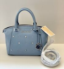 Michael Kors RILEY Xs  Satchel Bag Studded Leather Pale Blue $328