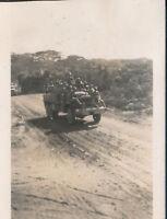 WWII 1945 USMC VMF 441 Blackjacks Marine's Okinawa in truck photo