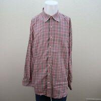Peter MIllar Pink Gray Long Sleeve Button Fron Flannel Plaid Casual Shirt Men XL