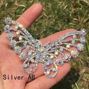 1X Rhinestone Applique Sew On Wedding Bridal Trim Crystal Diamante Butterfly DIY