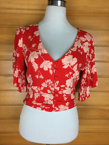 Dotti Red & White Floral Midriff Length Top Flared Sleeves V Neck Size 10 EUC