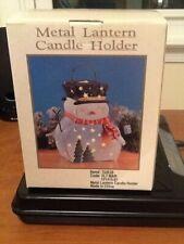 Metal Lantern Candle Holder Snowman
