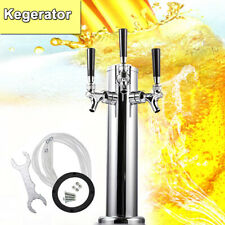 Triple Faucet Beer Tower 3 Tap Kegerator Stainless Steel for Home/Outdoor Party