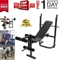 Adjustable Weight Bench Set Rack Home Gym Olympic Press Lifting Barbell Exercise