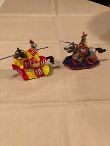 """Knights on horses with wheels, 5"""" x 4"""" tall"""