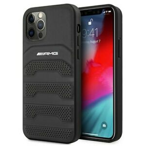 Genuine Mercedes AMG Leather Debossed Lines Cover for iPhone 12 Pro Max - Black