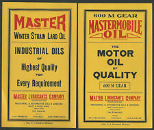 1930's MasterMobile Oil Can labels - Lot of 2 Different - San Francisco, CA