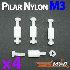 4x Pilar completo nylon M3 10+6mm blanco estrella electrónica Arduino soporte