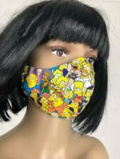 "** HOMEMADE ** Cotton Face Mask "" SIMPSONS "" Washable With Nose Wire 2 Layer"