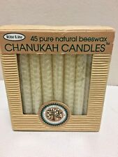 """CHANUKAH CANDLES, Box of 45 Pure Natural Beeswax, 4"""" Menorah Candles"""