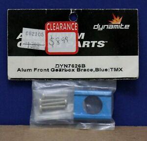 Dynamite DYN7626B Aluminum Option Front Gearbox Brace Blue for T-Maxx MIP