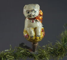 Cat on Clip - Christmas Glass Ornament - Germany Lauscha, ca. 1920/30 (# 11467)