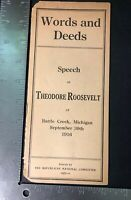 Words And Deeds Speech Of Theodore Roosevelt Booklet 1916 Michigan