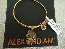 Alex and Ani BECAUSE I LOVE YOU II Russian Gold Charm Bangle W/Tag Card & Box