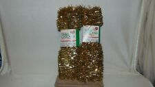 Two Mystic Industries Gold Tone Tinsel Garland Flameproof 20' Long