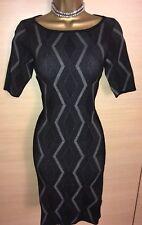 Exquisito Karen Millen Gris Negro Estampado Geométrico Vestido de punto elástico Uk10