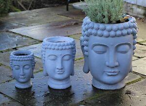 Garden Ornament Plant Pot Planter Buddha Head Zen Decoration Outdoor Indoor
