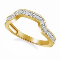 .34CT Diamond Curved Ring Notched Wedding Guard Band Enhancer 14K Yellow Gold