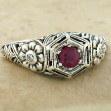 Genuine Ruby Antique Nouveau Style 925 Sterling Silver Ring Size 7, #936