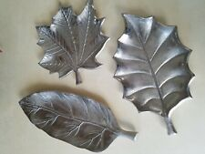 3 Leaves Decoration Art Pieces  Silver Color Small Trays