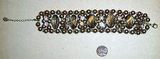 Gold Tone DANIELLE STEVENS Faux Pearls & Crystals Vintage Style Bracelet