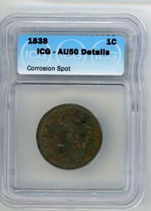 1838 Large Letters Coronet Head Large Cent ICG AU50