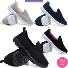 Ladies Get Fit Go Walking Slip On Gym Fitness Memory Foam Trainers Shoes Size