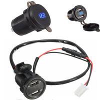 1x Auto 3.1A Dual USB Ladegerät Buchse Blau LED Licht Spannung Voltmeter 12V 24V