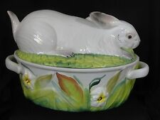 Vintage Lidded Rabbit Casserole Tureen Made in Italy White Bunny Ceramic