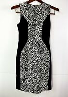 Cue In The City Black Animal Print Fit and Flare Midi Dress Size 8