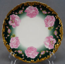 T & V Limoges Large Pink Rose Green & Gold Luncheon Plate Circa 1907 - 1919 A
