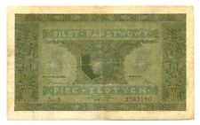 Poland Republic Ministry of Finance Bilet Panstwowy 5 Zlotych 1926 VF #49 RARE