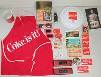 Vintage Coca Cola Advertising Lot Apron Spin Top Bottle Hat Pins Pens Cards