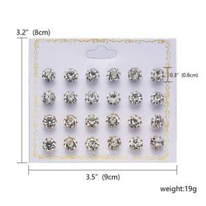 12Pairs/Set Cz Zircon Crystal Rhinestone Ear Stud Earrings Fashion Women Jewelry