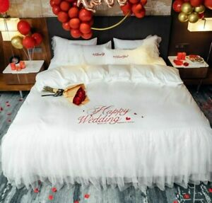Luxury Gold Embroidery Egyptian Cotton Lace Duvet Cover Bed Linen Pillowcases