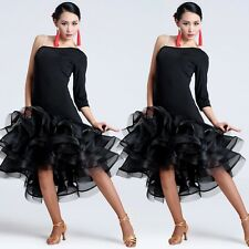 Black Adult Latin Rumba Samba Paso Doble Dance Performance Dress Ballroom Size M