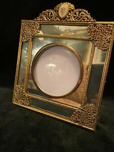 Vintage Gilt Dore Brass Enamel and Mirror Photo Picture Frame