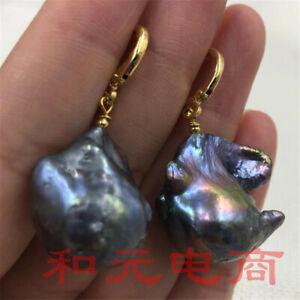 13-14MM Huge black baroque pearl earrings 18K hook luxury party AAA pendant