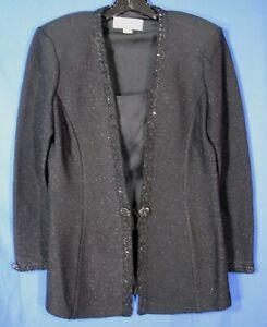 ST. JOHN EVENING Black Heavyweight Knit SPARKLE COCKTAIL Jacket Blazer SHIMMER 6