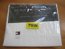 Tommy Hilfiger White Twin Flat  Sheet Bedding NEW NIP 100% Combed Cotton