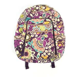 $109 Vera Bradley Campus Backpack in Plum Crazy Quilted with Laptop Holder GUC