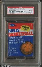 1986 Fleer Basketball Unopened Wax Pack Michael Jordan RC Sticker On Back PSA 9