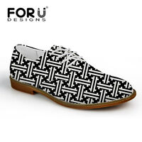 Black White Street Fashion Suede Leather Lace Up Mens Brogue Casual Formal Shoes