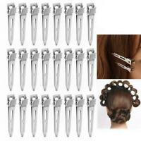 24Pcs Single Prong Curl Duckbill Hair Clips Silver Sectioning Alligator Hairpins
