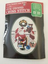 """Oval Counted Cross Stitch #4114 Present For Teddy 4"""" x5 ½"""""""