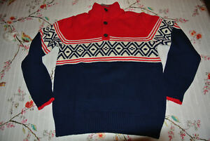 Gap Boys red/navy/cream jacquard Pull-over HOLIDAY Sweater machine washable NWT