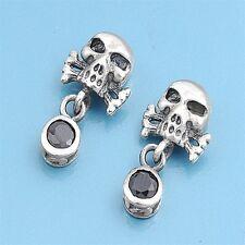 Skull & Cross Bone Earrings Silver 925 Halloween Style Oxidized Jewelry Gift