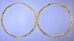 Ladies 22ct Gold Pair 62mm Diamond Cut Pattern Tubular Hinged Hoop Earrings