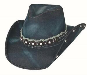 New BETTER THAN YESTERDAY Blue Denim Western Cowboy Hat Bullhide MonteCarlo